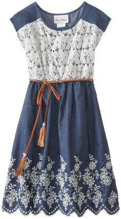 Rare Editions Girls 7-16 Lace To Chanbray Dress with Braided Belt, Navy/White, 7 Rare Editions,http://www.amazon.com/dp/B00GD22S7M/ref=cm_sw_r_pi_dp_rLyutb0DB11HS0GJ