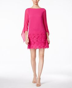 2cee1e97b1bd Tahari by ASL Women's Floral Embroidered Hem Sleeved Shift Dress Shocking  Pink Dress
