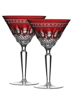Waterford Clarendon Pair Martini Ruby Red Glasses New In Box Baccarat Crystal, Crystal Glassware, Waterford Crystal, Cut Glass, Glass Art, Cranberry Glass, Carnival Glass, Vintage Glassware, Colored Glass