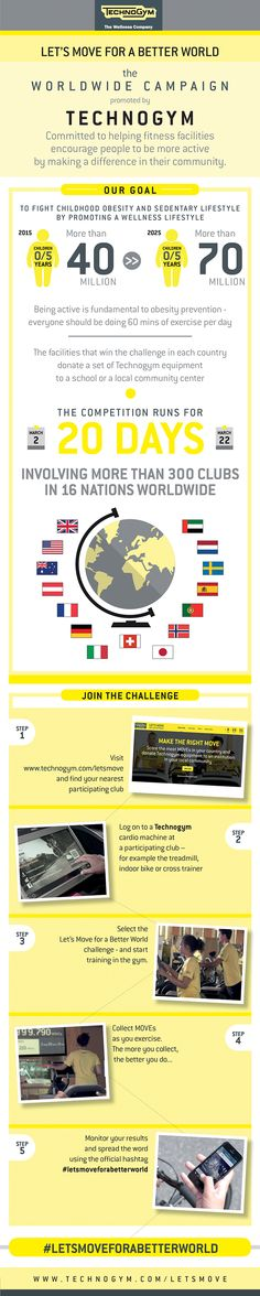 Here we are. #Letsmoveforabetterworld is starting on March 2nd till March 22nd. How many moves will we reach together? Who will be the best? Discover all the details: http://www.technogym.com/letsmove/
