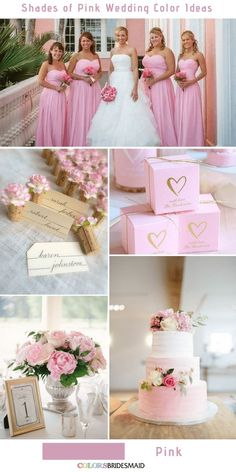 Pink Wedding Cakes 9 Prettiest Shades of Pink Wedding Color Ideas Pink Romantic Wedding Colors, Pink Wedding Colors, Pink And Gold Wedding, Wedding Color Schemes, Romantic Ideas, Hot Pink Weddings, Dusty Rose Wedding, Wedding Favors, Wedding Ideas