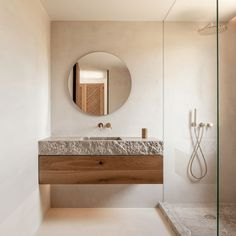 Earthy Bathroom, Small Bathroom, Natural Stone Bathroom, Bathroom Goals, Boho Bathroom, Bathroom Design Inspiration, Bathroom Interior Design, Wood Interior Design, Interior Inspiration