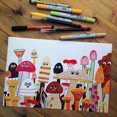More #mushrooms ! #illustration #illustrationoftheday
