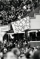 30 November CHELSEA fans let their feelings be known about rumours of Sven Goran Eriksson becoming Chelsea manager. Chelsea Fans, Chelsea Football, Stamford Bridge, Soccer Fans, Fulham, Feelings, History, Day, Historia