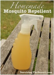 How To Make a Homemade Mosquito Repellent - no chemicals, all you need is 5 drops of Lavender Essential Oil, 5 drops of Citronella essential oil, 3 – 4 Tbsp Homemade Vanilla Extract , and Tbsp. Lemon Juice or 5 drops of Lemon Essential Oil.