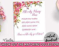 Bloody Mary Bridal Shower Bloody Mary Spring Flowers Bridal Shower Bloody Mary Bridal Shower Spring Flowers Bloody Mary Pink Green UY5IG - Digital Product #bridalshower #bridetobe