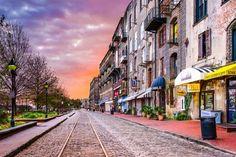 """11 Most Beautiful Streets in America"" > River Street in Savannah, Georgia."