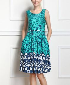 Turquoise & Navy Floral Sleeveless Dress