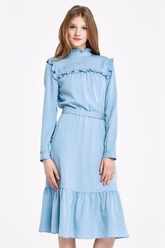 Платье голубого цвета с рюшей по кокетке купить в Украине, цена в каталоге интернет-магазина брендовой одежды Musthave