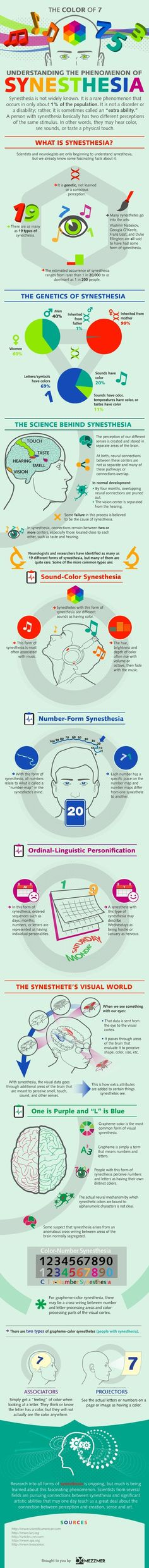 Understanding The Phenomenon Of Synesthesia [Infographic] - Data Visualization Encyclopedia, Information Technology, Symbols, Posters, Infographic