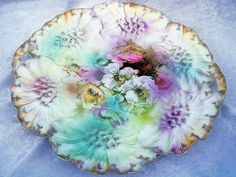"""Fabulous RS Prussia 1900's """"Lavender, Yellow, & White Pansy"""" 11-1/4"""" from labazaar on Ruby Lane"""