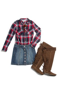 Denim Mini + Plaid Shirt + Suede Boots  - Seventeen.com