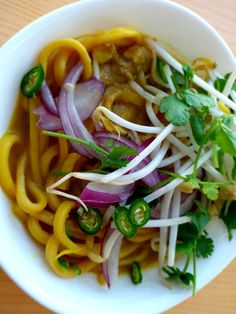 Although a melting pot, Bangkok is not all Thailand when it comes to food. This dish is from Chiang Mai which is a northern province of Thailand where the use of coconut in dishes is limited. Khao Soi, Coconut Chicken, Melting Pot, Chiang Mai, Chicken Soup, Bangkok, Spicy, Thailand, Healthy Eating