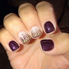 Fall colors | wine | burgundy | nails | glitter ombré | gold #nailart #gelnails #glitterombre