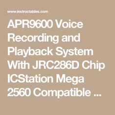 APR9600 Voice Recording and Playback System With JRC286D Chip ICStation Mega 2560 Compatible Arduino