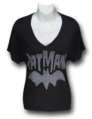 Batman White Logo Junk Food Juniors Loose Cut V-Neck T-Shirt