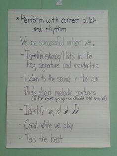 Year 1 beginning band success criteria