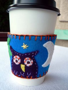 Night Owl Reusable Felt Coffee Cup Sleeve by PaintMyselfPretty, $15.00
