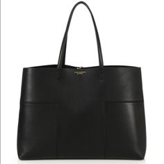 """Tory Burch Block T Tote Suede This bag is no longer made! Gorgeous two-toned black leather and suede. Dimensions are  15.5"""" W X 11.5H X 5.75""""D.  There are minor scuffs on the leather and suede but nothing major. Comes with matching pouch no trades Tory Burch Bags Shoulder Bags"""