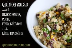 Quinoa salad with black beans, corn, spinach and feta - tossed with lime dressing!