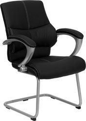 Flash Furniture H-9637L-3-SIDE-GG Black Leather Executive Side Chair Executive leather side chair, 25-1/4-inch width by 27-1/2-inch depth by 38-3/4-inch height. Contrasting white stitching. Built-In Lumbar Support. Padded silver nylon loop arms.  #Flash_Furniture #Home
