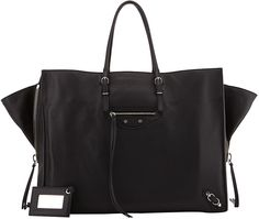 Balenciaga Papier A4 Side Zip Leather Tote Bag