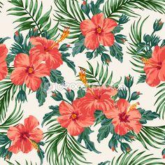 flores y hojas tropicales — Ilustración de stock #56814857