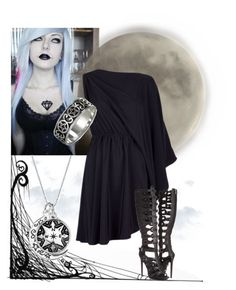 """""""Nyx, Goddess of the Night"""" by riotofthedamned ❤ liked on Polyvore featuring Burton, Maison Margiela, Penny Loves Kenny, women's clothing, women's fashion, women, female, woman, misses and juniors"""
