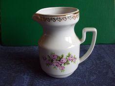 Vintage USSR Latvia Riga RPR Porcelain Creamer Gold flowers 1970s #56