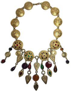 Vtg Dauplaise Necklace Haute Couture Jeweled Enamel Cabochon Drippy Statement  #Dauplaise #Statement