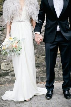 feathers! I want this bridal look!!  (dress and feathers by Jenny Packham)