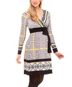 This Gray & Yellow Geo Tie-Waist Maternity Surplice Dress is perfect! #zulilyfinds