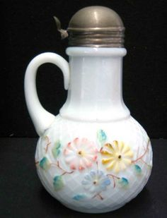 Cosmos Milk Glass Syrup Jug | Antique Helper