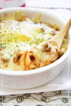 NATTO KIMCHI DORIA, *焼くだけ簡単☆納豆とキムチのドリア風* (ra-yu, cheese)