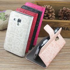 New Cute Flip Leather Hard Stand Case For Samsung Galaxy Trend Plus S7582 S7580