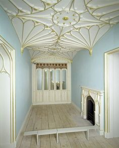 The Strawberry Room: Panelled room, Kent, England  1783-1794, James Wyatt, born 1746 - died 1813  Materials and Techniques: Pine, carved, painted and gilded; cupboards inset with coloured glass panes | V&A
