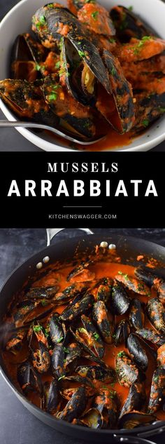 Simple mussels recipe in spicy red sauce.- Simple mussels recipe in spicy red sauce. Simple mussels recipe in spicy red sauce. Shellfish Recipes, Seafood Recipes, Cooking Recipes, Healthy Recipes, Seafood Dinner, Fish And Seafood, Arrabbiata Recipes, La Marmite, Red Sauce