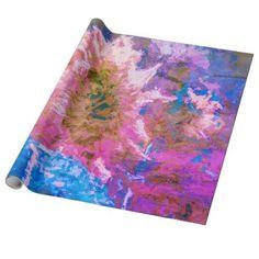 Sunflower Pink Purple Blue Watercolor Floral Art Wrapping Paper Pink Wrapping Paper, Custom Wrapping Paper, Gift Wrapping Supplies, Engraved Gifts, Pink Purple, Blue, Rustic Style, Floral Watercolor, Unique Gifts