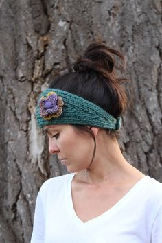 Teal Wool Knit Headband w/ Flower/ Knit Headband/ Teal Headband/ Winter Headband/ Ear Warmer/ Wool Headband by RycesPiecesKnits on Etsy https://www.etsy.com/listing/252289237/teal-wool-knit-headband-w-flower-knit