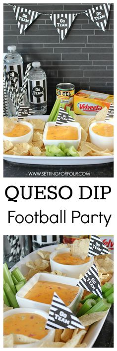 Throw the perfect festive Superbowl or Football party with this yummy, zesty Queso Dip Recipe #QuesoForAll