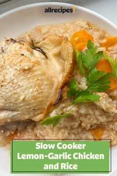 This slow cooker lemon-garlic chicken and rice is an easy dinner recipe! This chicken and rice dish incorporates chicken thighs, white rice, carrots, lemon juice, garlic powder, and cayenne pepper to create a delicious slow cooker meal. You'll love cooking this comfort food recipe for your family!