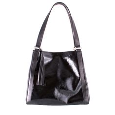 Patent-leather shoulder bag, in black