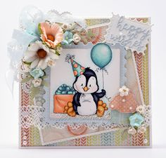 $8,50 Whimsy Stamps *NEW Penguin Birthday word dies available too
