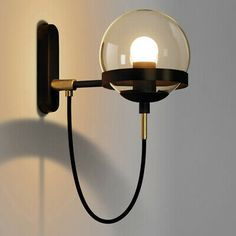 Glass Ball Wall Light Spherical LED Wall Lamp Vintage Industrial Loft Bar Sconce   eBay Glass Wall Lights, Led Wall Lamp, Wall Sconce Lighting, Wall Sconces, Bedside Wall Lights, Ceiling Lamp, Stair Lighting, Home Lighting, Modern Lighting
