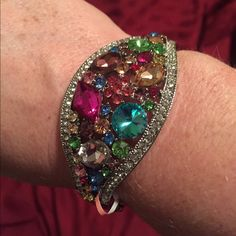 Multi Color Glass & Austrian Crystal Bangle Gorgeous Multi Color Glass, Multi Color Austrian Crystal Bangle in Silvertone (7.5 in). NWT Jewelry Bracelets