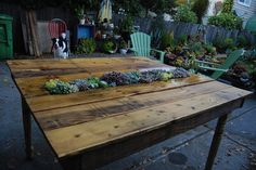 """How-To: DIY Succulent Pallet Table I say this being made on """"Yard Crashers"""" I LOVE this! I want to do one, even a small version would be wonderful!"""