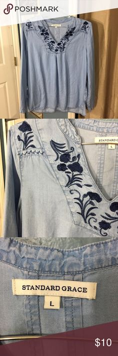 Embroidered Top This is a beautiful embroidered top by Standard Grace. It's in great condition, hardly worn! 💕 Tops Tunics