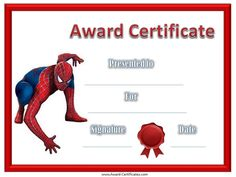 superhero borders template | Give your children or students a Spiderman award certificate to reward ...