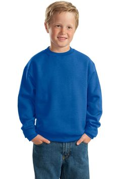 Youth Crewneck Sweatshirt - Waistband with spandex, Sale: $8.08  8-ounce, 50/50 cotton/poly NuBlend pill-resistant fleece. High-stitch density for a smooth-printing canvas. Coverseamed neck, armholes and waistband.Rib knit collar, cuffs and waistband with spandex. Concealed seam on cuffs. Youth crewneck sweatshirts at True to Size Apparel #YouthSweatshirt  #JerzeesSweatshirt http://truetosizeapparel.com/youth-crewneck-sweatshirt-waistband-with-spandex/