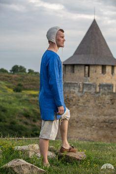 Medieval Tunic, Medieval Clothing, Renaissance Wedding, Cotton Tunics, Long Sleeve Tunic, Natural Linen, Workout Tops, Street Wear, Unisex